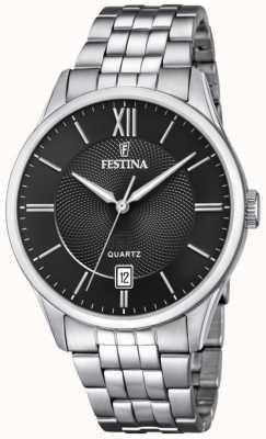 Festina | мужской браслет из нержавеющей стали | черный циферблат | F20425/3