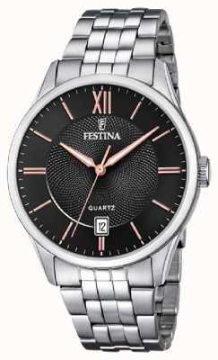 Festina | мужской браслет из нержавеющей стали | черный / розовый циферблат | F20425/6