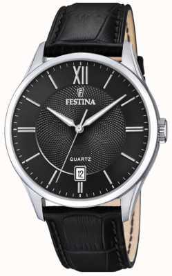 Festina | мужская нержавеющая сталь | черный кожаный ремешок | черный циферблат | F20426/3