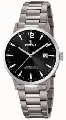 Festina | мужские титановые часы | черный циферблат | титановый браслет | F20435/3