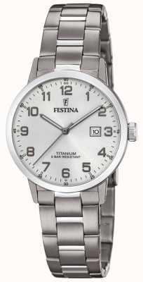 Festina | женские титановые часы | серебряный циферблат | титановый браслет | F20436/1