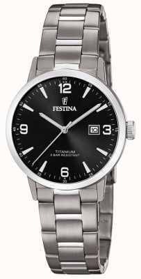 Festina | женские титановые часы | черный циферблат | титановый браслет | F20436/3