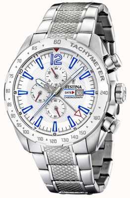 Festina | мужской хронограф и двойное время | серебряный циферблат | стальной браслет F20439/1