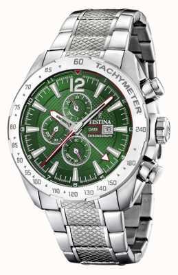 Festina | мужской хронограф и двойное время | зеленый циферблат | стальной браслет F20439/3