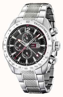 Festina | мужской хронограф и двойное время | черный циферблат | стальной браслет F20439/4