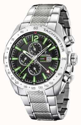 Festina | мужской хронограф и двойное время | черный / зеленый циферблат | F20439/6
