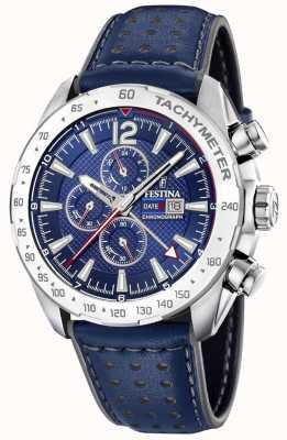 Festina | мужской хронограф и двойное время | синий циферблат | кожаный браслет F20440/2