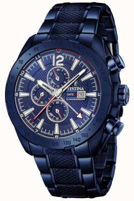 Festina | мужской хронограф с синим покрытием | браслет из нержавеющей стали | F20442/1