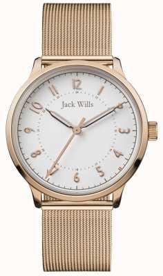 Jack Wills | ноу-хау | сетка из розового золота | белый циферблат | JW017WHRS