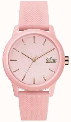 Lacoste | женская 12-12 | розовый силиконовый ремешок | розовый циферблат | 2001065