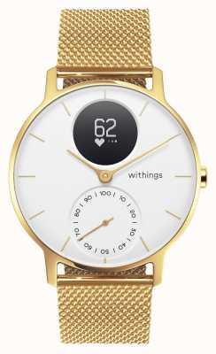 Withings Сталь hr 36 мм, лимитированная серия, золото миланское (+ резиновый ремешок) HWA03B-36WHT-GOLD-MESH GOLD-ALL-INT