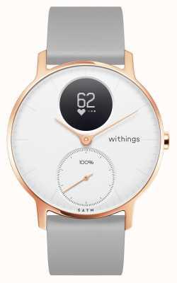 Withings Сталь hr 36 мм розовое золото белый циферблат серый силиконовый браслет HWA03B-36WHITE-RG-S.GREY-ALL-INTER