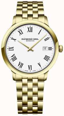Raymond Weil | мужские токката | золотой браслет из нержавеющей стали | белый циферблат 5485-P-00300