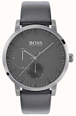 BOSS Мужская кислородно-серый кожаный ремешок серый циферблат 1513595