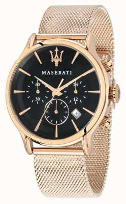Maserati Epoca хронограф черный циферблат розовое золото пвд сетка R8873618005