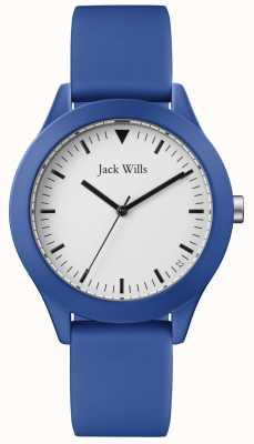 Jack Wills | мужской синий резиновый ремешок | белый циферблат | JW009BTBL