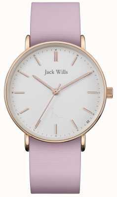 Jack Wills | женский силиконовый ремешок сандхилл розовый | белый циферблат | JW018WHPK