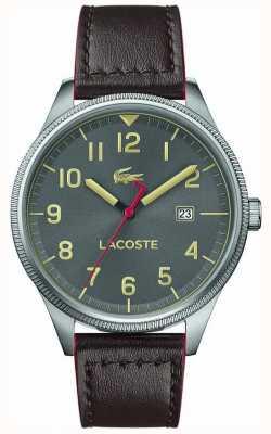 Lacoste | мужской континентальный | коричневый кожаный ремешок | серый циферблат | 2011020