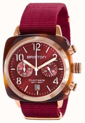 Briston Классический член клуба ацетат золотой красный нато ремешок 15140.PRA.T.8.NBDX
