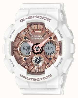 Casio | G-Shock белое и розовое золото | аналоговый и цифровой | GMA-S120MF-7A2ER
