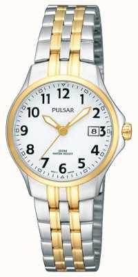 Pulsar Женский двухцветный браслет из нержавеющей стали с белым циферблатом PH7222X1