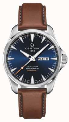 Certina | ds action day-date powermatic 80 | синий циферблат | коричневый ремешок C0324301604100