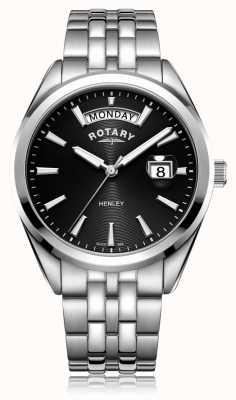 Rotary | мужская хенли | черный циферблат | браслет из нержавеющей стали | GB05290/04