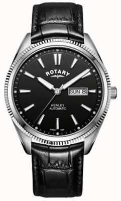 Rotary | мужская хенли | зазубренный ободок | черный циферблат | черная кожа GS05380/04
