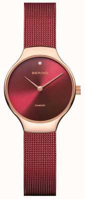Bering | женские благотворительные часы | красный сетчатый ремешок | красный циферблат | 13326-CHARITY