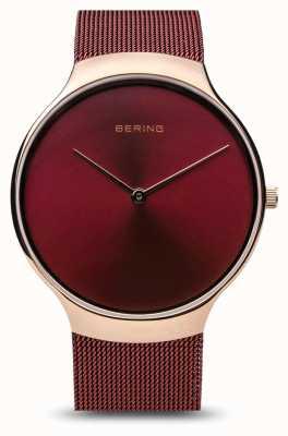 Bering | женские благотворительные часы | красный сетчатый ремешок | красный циферблат | 13338-CHARITY