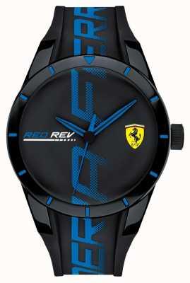 Scuderia Ferrari | мужской редрев | черный синий силиконовый ремешок | черный циферблат | 0830616