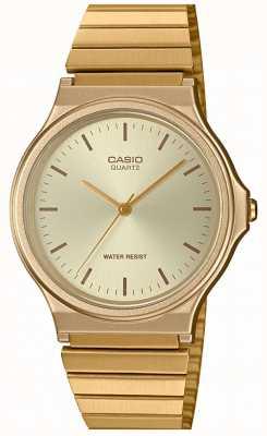 Casio | старинные круглые часы | расширяемый браслет | золотой циферблат | MQ-24G-9EEF