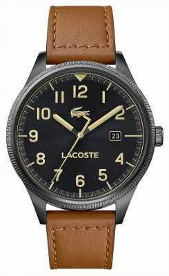 Lacoste | мужской континентальный | коричневый кожаный ремешок | черный циферблат | 2011021