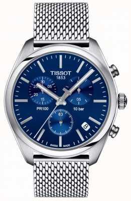 Tissot | мужской хронограф pr100 | сетчатый браслет | синий циферблат | T1014171104100