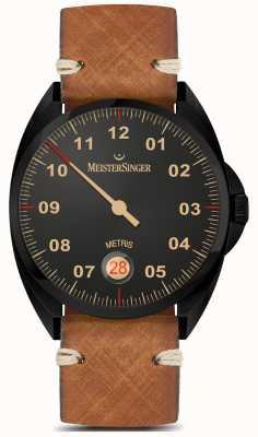MeisterSinger Метрис - черная линия коричневый кожаный ремешок черный циферблат ME902BL