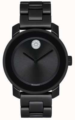 Movado | жирный | черный браслет с покрытием из пвд | черный циферблат | 3600535