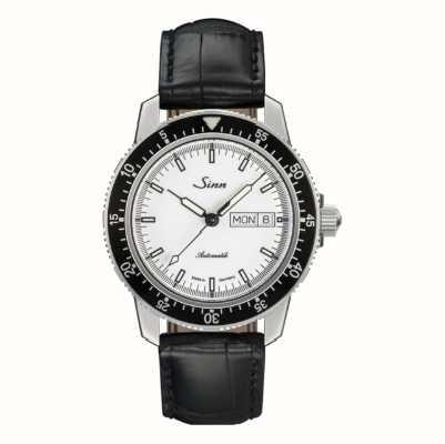 Sinn 104-ые часы классического пилота из кожи аллигатора с тиснением 104.012 BLACK EMBOSSED LEATHER BLACK STITCHING