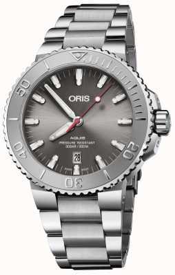 ORIS | облегчение даты aquis | браслет из нержавеющей стали | серый циферблат | 01 733 7730 4153-07 8 24 05PEB