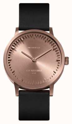 Leff Amsterdam | наручные часы | T32 | розовое золото | черный кожаный ремешок | LT74414
