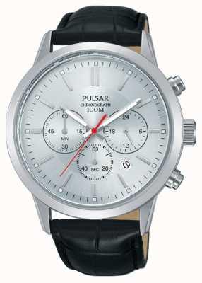 Pulsar | мужской хронограф | серебряный циферблат | черный кожаный ремешок | PT3749X1