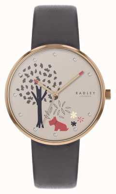 Radley | женский серый кожаный ремешок | циферблат с изображением дерева и собаки | RY2788