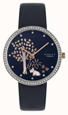 Radley | женский темно-синий кожаный ремешок | хрустальный ободок | дерево циферблат RY2783