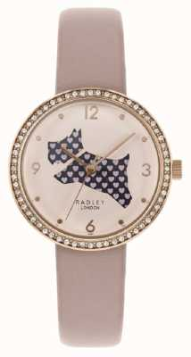 Radley | женский розовый кожаный ремешок | вырезать циферблат собаки | хрустальный набор RY2806