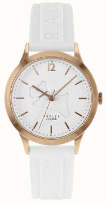 Radley | женский белый силиконовый ремешок | белый циферблат | чехол из розового золота RY2818