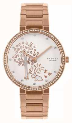 Radley | женский браслет из розового золота | циферблат с мотивом из белого дерева | RY4388