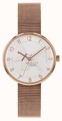 Radley | женский браслет из розового золота с сеткой | белый тисненый циферблат для собак | RY4392