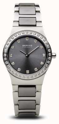 Bering | женская керамическая полированная серебро | хрустальный набор | серый циферблат | 32426-703