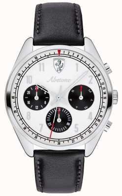 Scuderia Ferrari Мужские часы Abetone черный кожаный ремешок белый циферблат 0830569