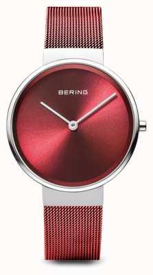 Bering Женские | классический | красный стальной браслет с покрытием из ПВХ 14531-303