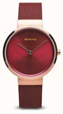 Bering Женские | классический | красный стальной браслет с покрытием из ПВХ 14531-363